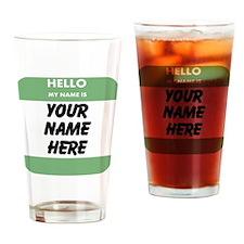 Custom Green Name Tag Drinking Glass
