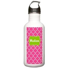 Pink Green Quatrefoil Personalized Water Bottle