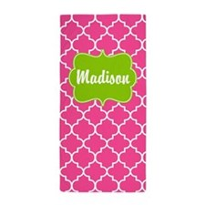 Pink Green Quatrefoil Personalized Beach Towel