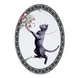 Russian Blue Curious...Oval Ornament