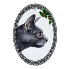 Russian Blue Oval Ornament