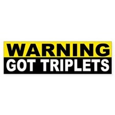 WARNING GOT TRIPLETS Bumper Bumper Sticker