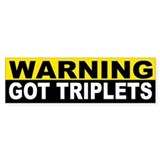 WARNING GOT TRIPLETS Bumper Car Sticker