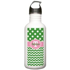 Pink Green Chevron Dots Personalized Water Bottle