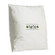 Personalizable Green Shamrock Burlap Throw Pillow
