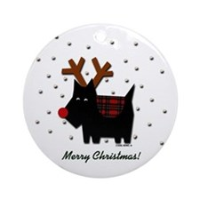 Scottie Reindeer Ornament (Round)