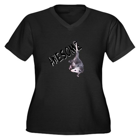 Awesome Possum Women's Plus Size V-Neck Dark T-Shi