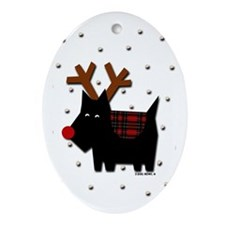 Scottie Reindeer PLAID Oval Ornament