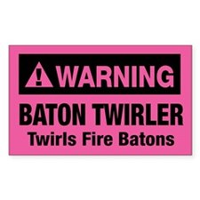 Fire Baton Twirler Rectangle Decal