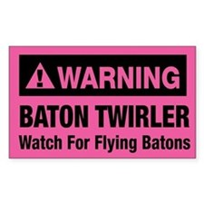 WARNING Baton Twirler Rectangle Decal
