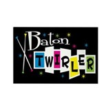 Retro Baton Twirler Rectangle Magnet (10 pack)