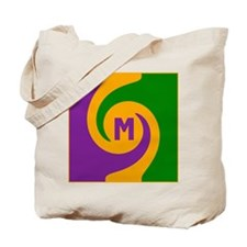 Mardi Gras Swirls Monogram Tote Bag