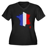"""Pixel France"" Women's Plus Size V-Neck Dark T-Shi"