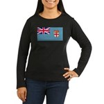 Fiji Fijian Blank Flag Women's Long Sleeve Dark T-
