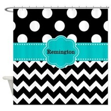 Black Teal Dots Chevron Personalized Shower Curtai