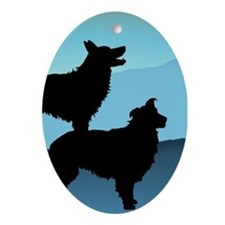 Blue Mt. Border Collies Oval Ornament