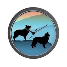Blue Mt. Border Collies Wall Clock