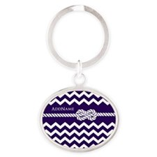 Violet Chevron Rope Personalized Oval Keychain