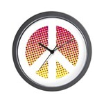 Halftone peace sign Wall Clock
