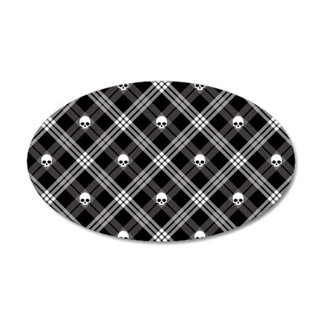 Gothic Skull Plaid 35x21 Oval Wall Decal