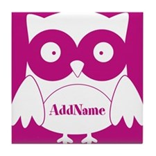 Medium Violet Red Owl Personalized Tile Coaster