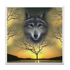 Wolf 'Shaman's Dream' White Border ~Tile Coaster