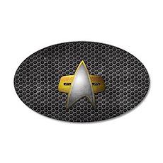 Grunge Starfleet Comm Badge 20x12 Oval Wall Decal