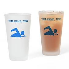 Custom Blue Swimmer Drinking Glass