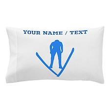 Custom Blue Ski Jumper Silhouette Pillow Case