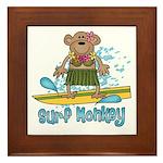 Surf Monkey (girl) Framed Tile