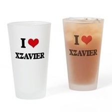 I Love Xzavier Drinking Glass
