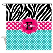 Zebra Pink Teal Dots Personalized Shower Curtain