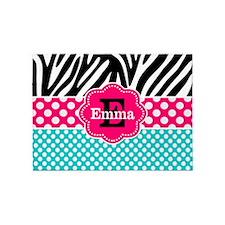 Zebra Print Pink Monogram 5'x7'Area Rug