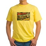 Caldwell Idaho Greetings (Front) Yellow T-Shirt