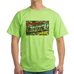 Caldwell Idaho Greetings (Front) Green T-Shirt