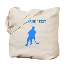 Custom Blue Hockey Player Silhouette Tote Bag