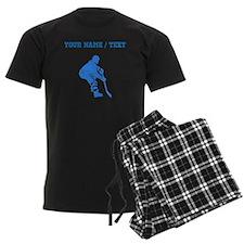 Custom Blue Hockey Player Pajamas