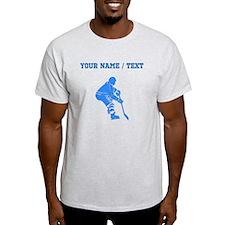Custom Blue Hockey Player T-Shirt