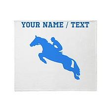 Custom Blue Equestrian Horse Silhouette Throw Blan