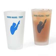 Custom Blue Diver Silhouette Drinking Glass