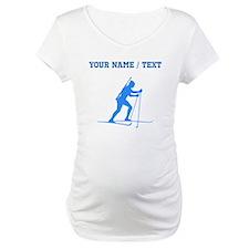 Custom Blue Biathlete Silhouette Shirt