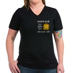 Band is Great Pocket Image Women's V-Neck Dark T-S