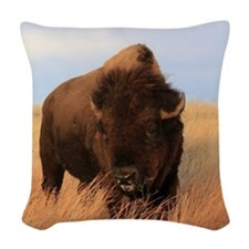 Bison on the plains Woven Throw Pillow