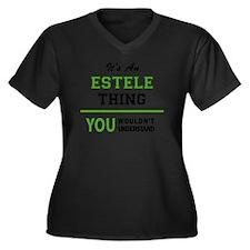 Estelle Women's Plus Size V-Neck Dark T-Shirt