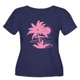 Pink Palm Beach Silhouette Women's Plus Size Scoop