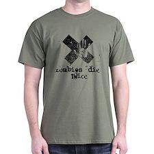 Nonshape Zombies Die Twice Black Ink T Shirt