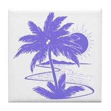 Violet Palm Beach Silhouette Tile Coaster