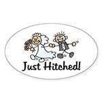 Just Hitched Oval Sticker
