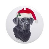 Black Labrador Retriever Round Ornament