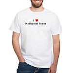 I Love Nathaniel Beans White T-Shirt